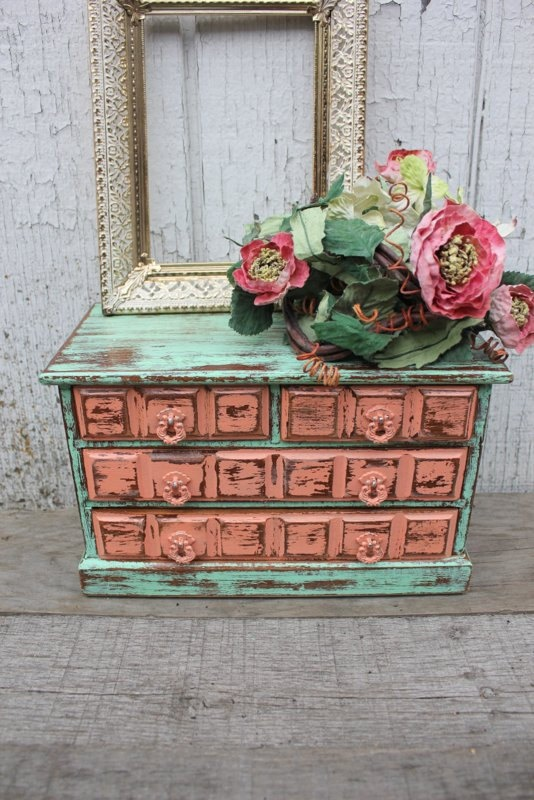 Mint Green and Coral Upcycled Jewelry Box  by TheSpeckledEgg2011, $65.00