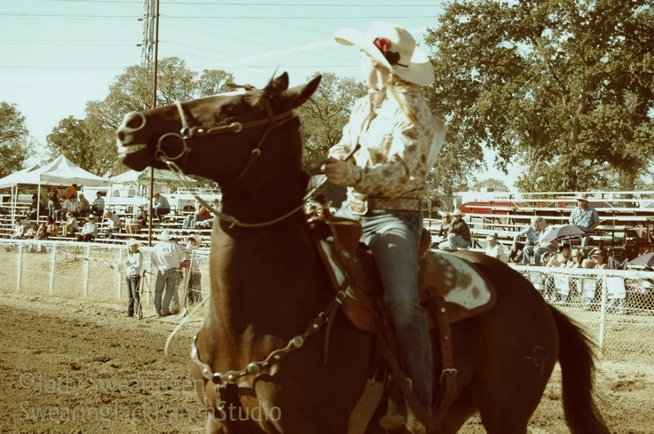Barrel racer getting ready to start her run