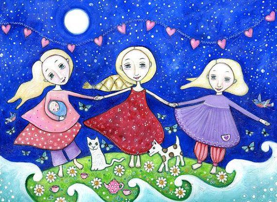 Three sisters folk art painting womens wall art tree blonde girls 3 daughters nursery decor whimsical kids room art Three of cups tarot art on Etsy, $18.64