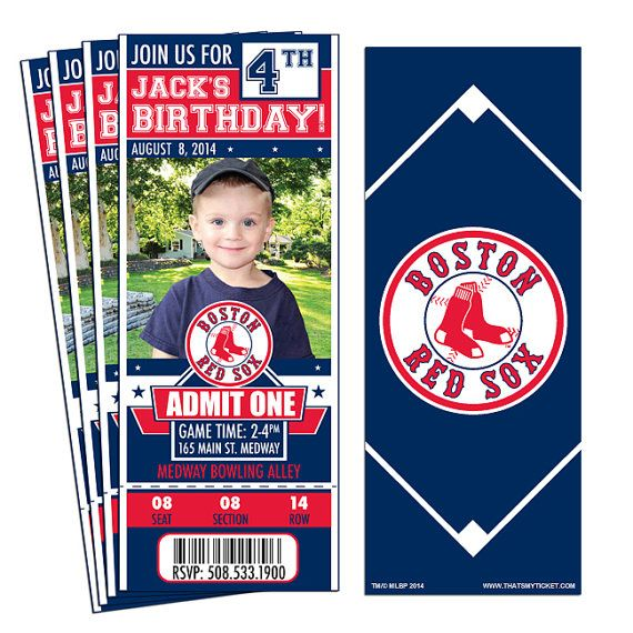 12 Boston Red Sox Birthday Party Ticket Invitations - Officially Licensed by MLB