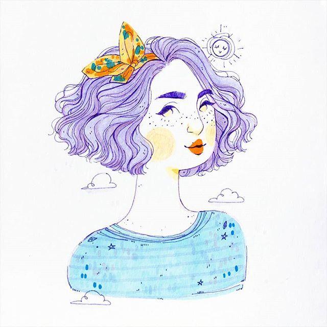 #TBT  Está es una ilustración algo vieja que hice pensando en como desearía que mi cabello sea todo el tiempo: Lila y con ondas regias