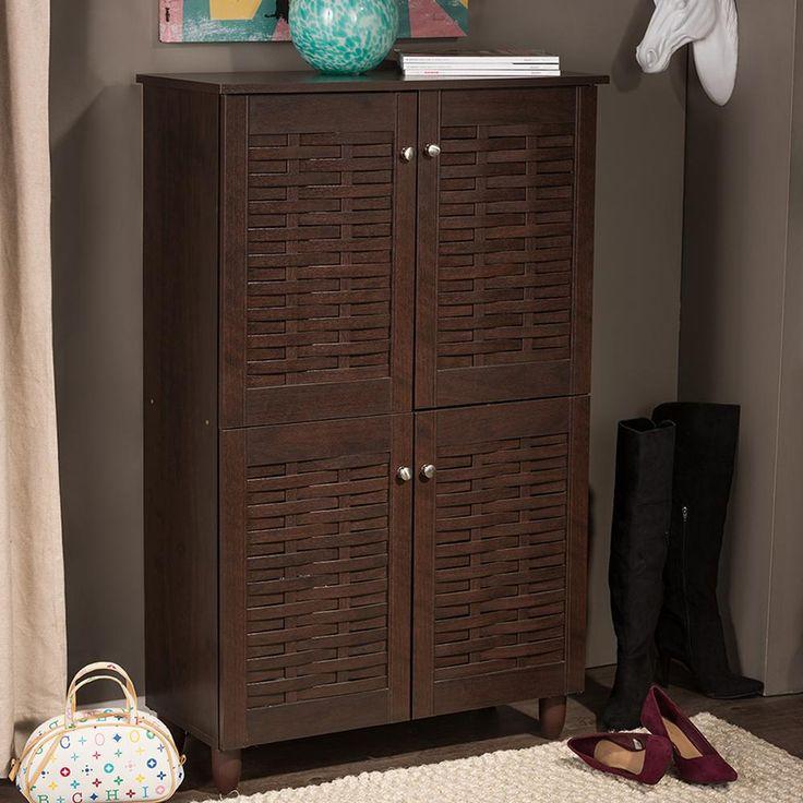 D Dark Brown Wood Finish Storage Cabinet