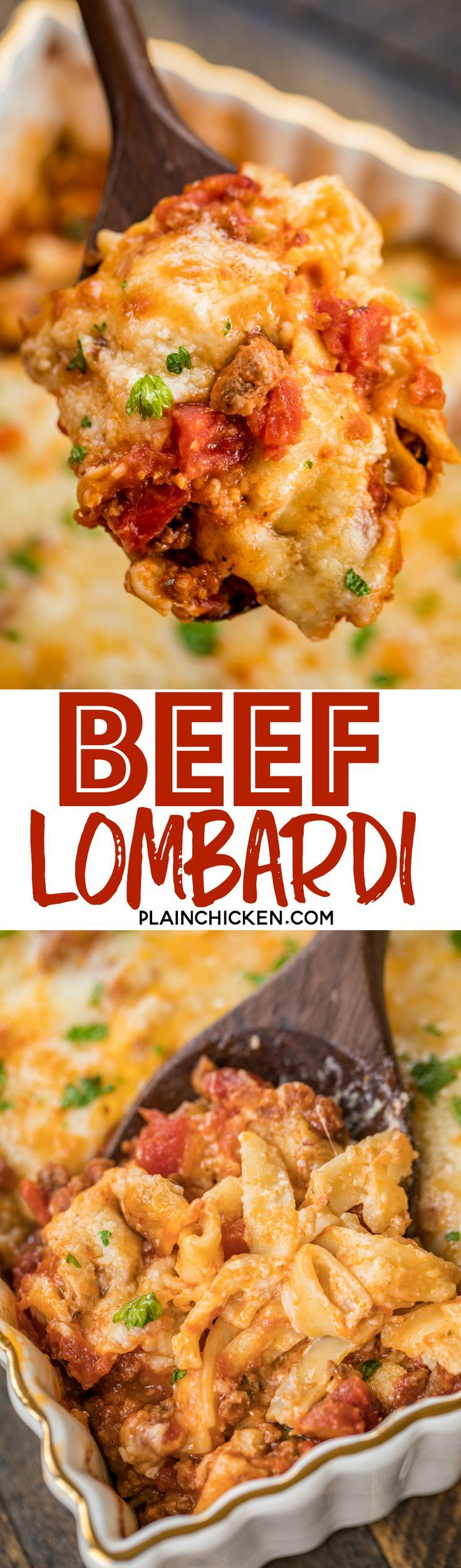 Beef Lombardi Casserole - comfort food at its best! SO easy! Can be made ahead and frozen for up to a month. Ground beef, tomatoes, diced tomatoes and green chiles, tomato paste, egg noodles, sour cream cheddar, parmesan and mozzarella. Everyone cleaned t