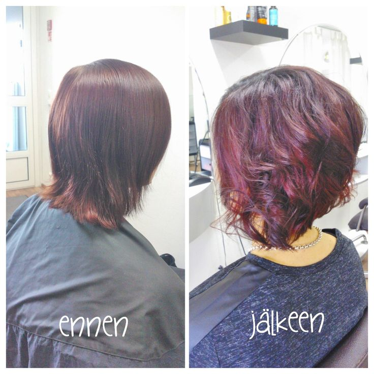 Before and after, cold toned red haircolour and lovely bob haircut. Hair by Emmi/Parturi-kampaamo Salon Maria