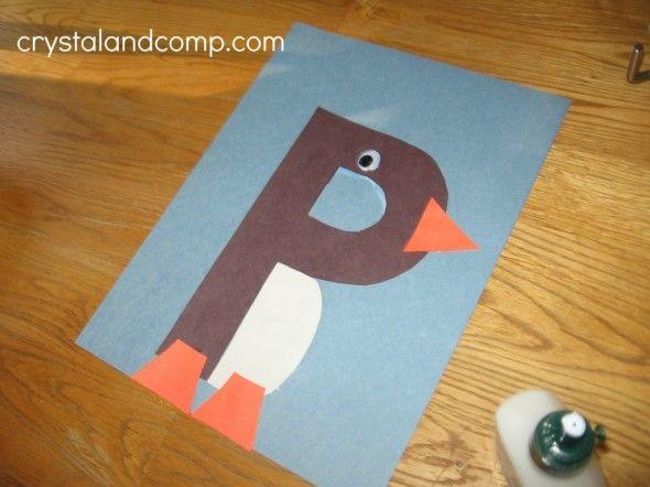 Homeschool. Lesson 3. Penguin. Letter craft.