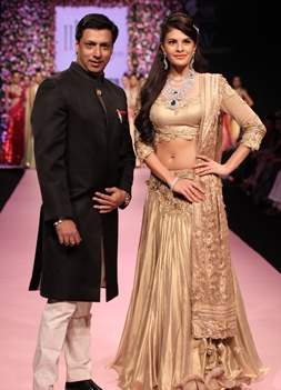 Madhur Bhandarkar and Jacqueline Fernandes walked the ramp for PC Jewellers   INDIA INTERNATIONAL JEWELLERY WEEK 2013