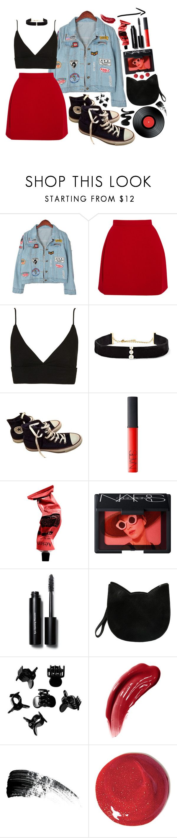 """Red skirt"" by vitoriabett ❤ liked on Polyvore featuring Chicnova Fashion, Delpozo, Topshop, Anissa Kermiche, Converse, NARS Cosmetics, Aesop, Bobbi Brown Cosmetics, Clips and H&M"