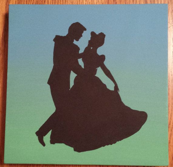 Disney Silhouette Painting - So This Is Love on Etsy, $15.00