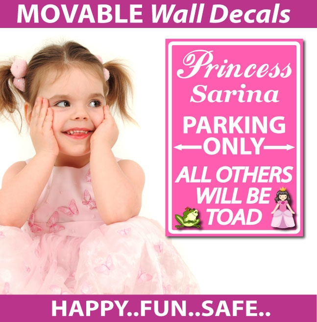 smartwalling, wall decals - Personalised Princess Parking Wall Decals, $7.95 (http://www.wholesaleprinters.com.au/personalised-princess-parking-wall-decals)