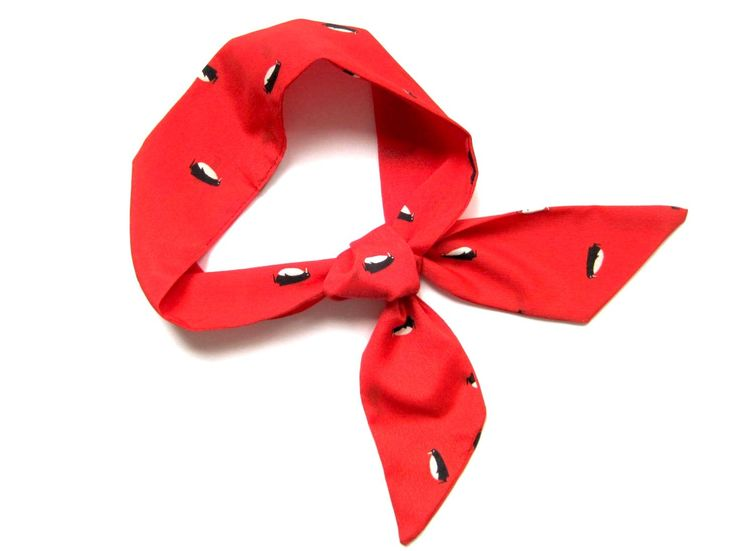 Short Skinny Neck Scarf Red Ponytail Hair Head Wrap Scarf Top Selling Items Ready to Ship