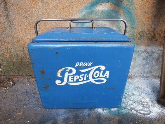 Vintage Cooler PEPSI COLA blue chest w/ bottle opener side