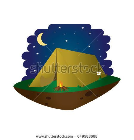 Camp or Camping Tend Flat Design Illustration with bonfire, on middle of the night and Floating islan
