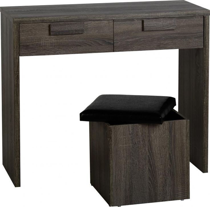 Cambourne 2 Drawer Dressing Table Set in Dark Sonoma Oak Effect #DressingTablesets #DressingTables #Dressing