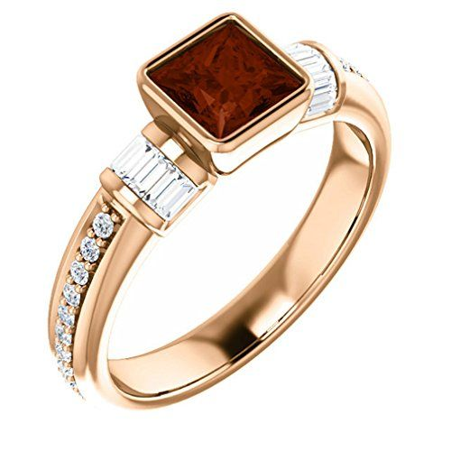 14K Rose Gold 5x5 Princess Cut Mozambique Garnet and Diamond Ring