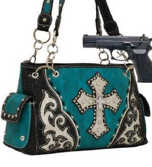 Turquoise Studded Cross Conceal and Carry Purse  #HBM #Hobo