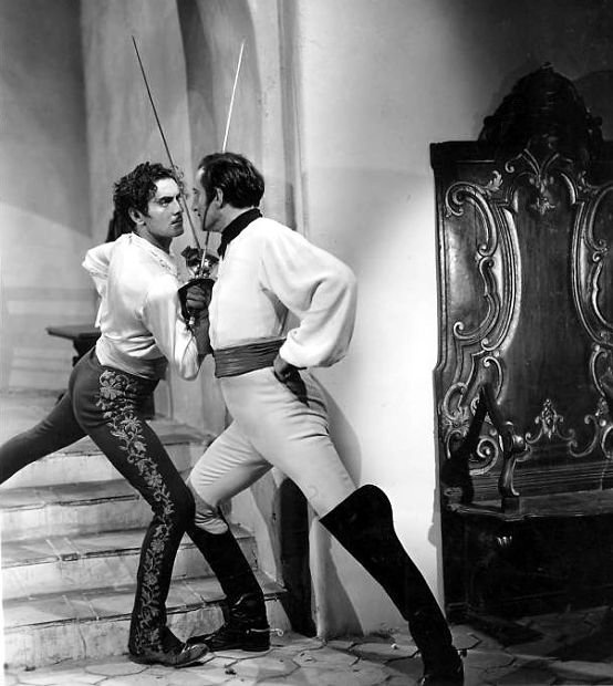 The Mark of Zorro (1940) with Tyrone Power and Basil Rathbone (best movie sword fight ever!)