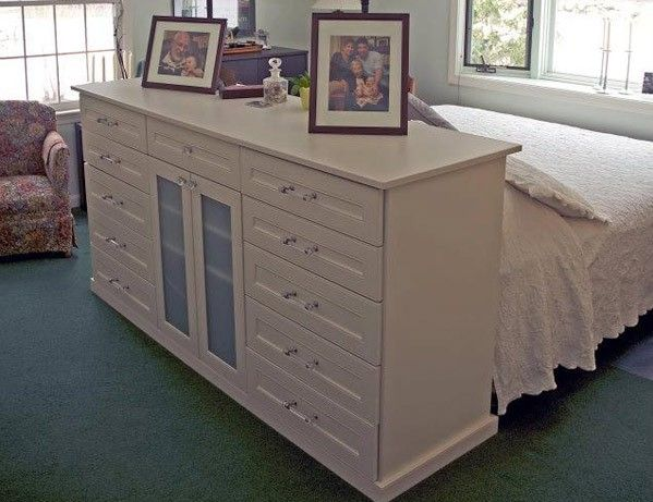 A Dresser As A Headboard. Good For 1 Room Living, As You Can Use