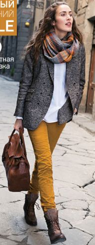 #fall #style mustard pants love the scarf
