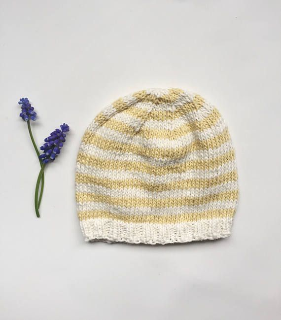 Knitted Baby Hat Cotton Baby Beanie Striped Baby Hat Baby