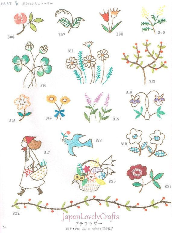 Japanese Mini Flower Embroidery Pattern Easy by JapanLovelyCrafts ...