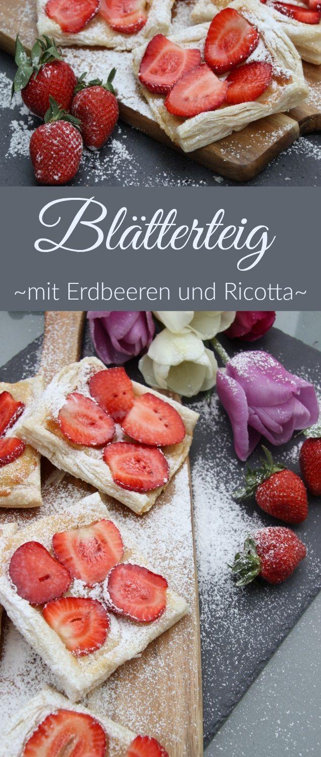 Blätterteig mit Erdbeeren und Ricotta. Schnell, einfach und süß :)