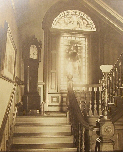 #Victorian stairway, circa 1880's, with a Grandfather clock.