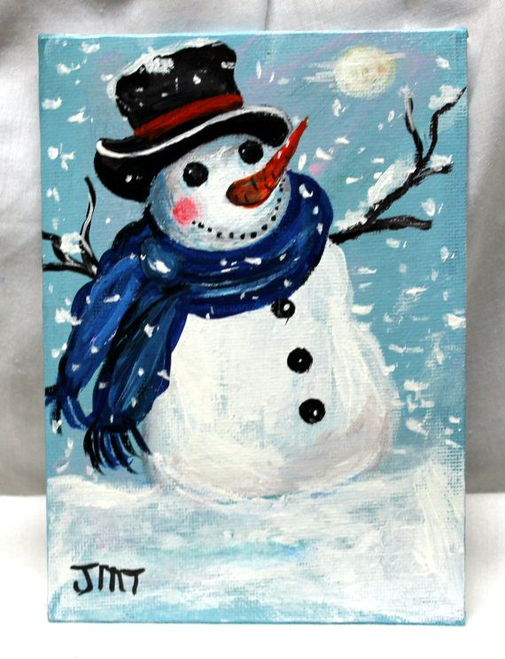 ***Christmas In July*** Snowman Vibrant snowman was created on canvas board using acrylic medium and completed with a gloss finish to protect