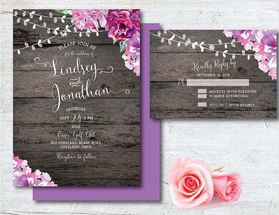 Printable Wedding Invitation Purple Wedding by PoshPaperOccasion
