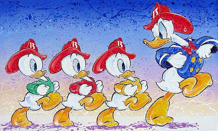 Donald Duck - Ducky See Ducky Do - Huey Dewey and Louie Fireman - David Willardson - World-Wide-Art.com - #davidwillardson #disney #donaldduck #hueydeweylouie