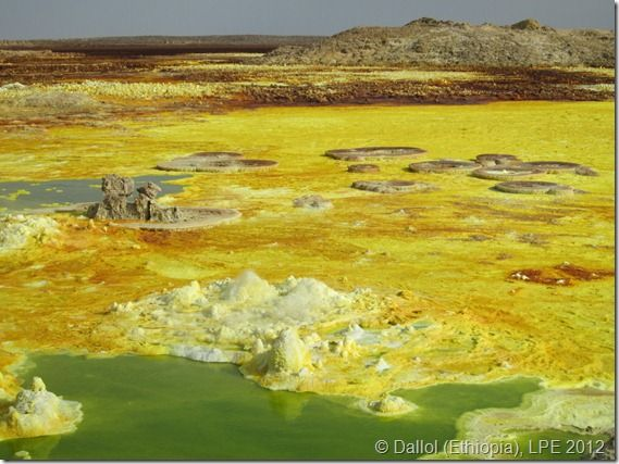 Dallol, Danakil Depression (Ethiopia). The lowest point in the African continent and claimed to be the hottest spot on earth. It may look awesome but be warned, it smells of rotten eggs.