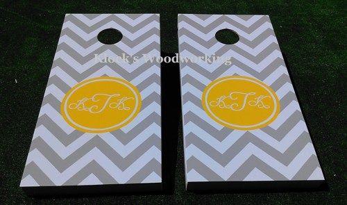 Classy Chevron Monogram Wedding Corn Hole Bean Bag Toss Board Game Set | KlocksWoodwork - Wedding on ArtFire