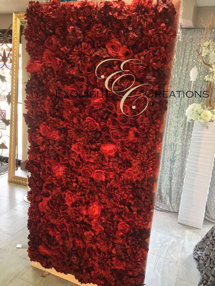 Flower Wall - Can make different designs or monograms using white, pink or red flowers