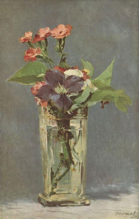 Edouard Manet.  Clematis in einer Kristallvase. Um 1880-1883, Öl auf Leinwand, 55 × 34 cm. Paris, Sammlung J. Charpentier. Stillleben. Frankreich. Impressionismus.  KO 01706