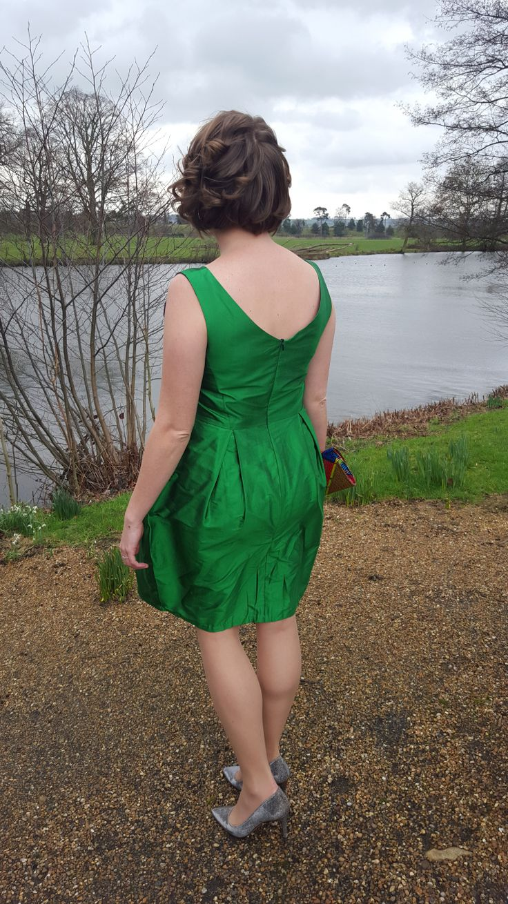 Green silk dupion home sewn dress