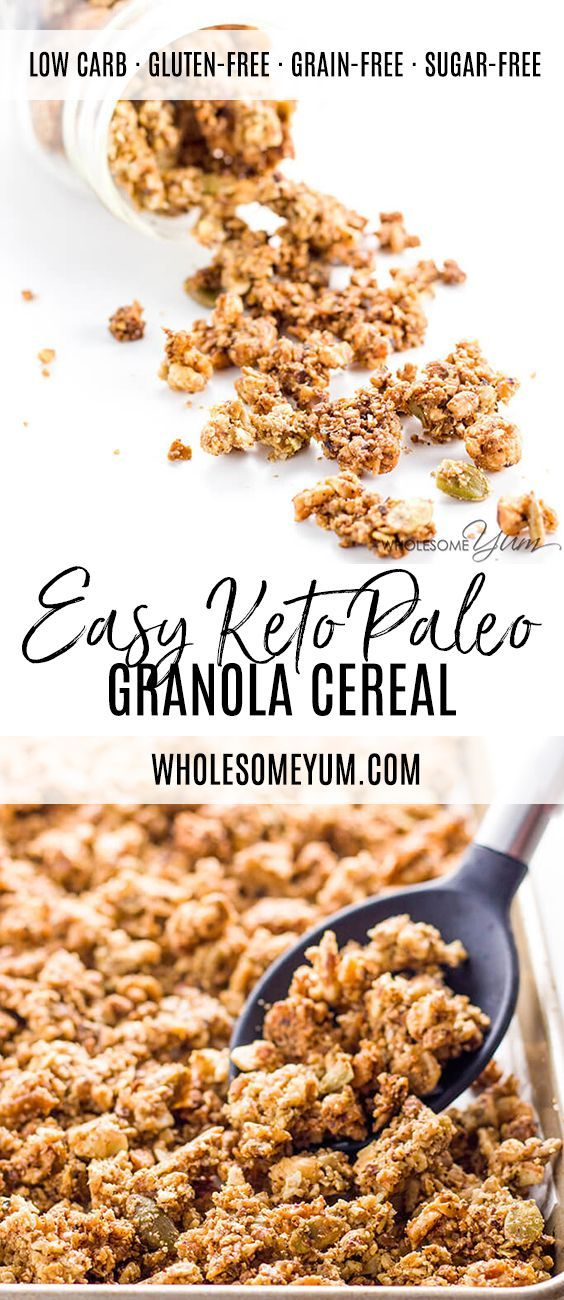Low Carb Granola Cereal (Paleo, Gluten-free, Sugar-free) - This paleo low carb granola cereal takes just 10 minutes of prep time for a big batch! It&#...