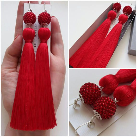 Red Tassel Earrings Long Red Trendy earrings Unique statement