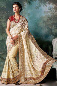 Bollywood Style Model Georgette Saree In Cream Colour NC2130