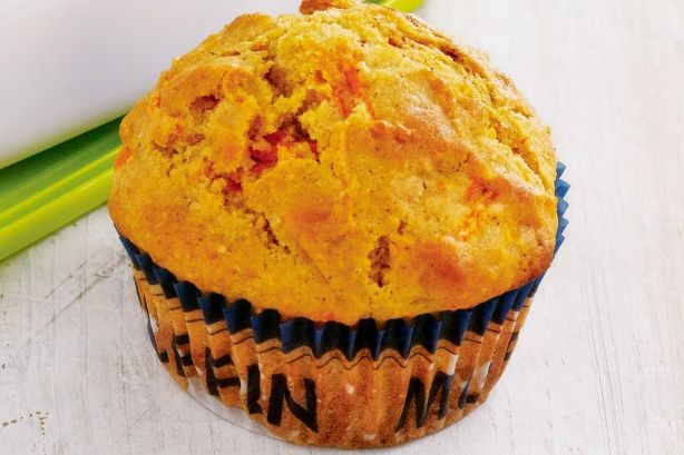 These tasty carrot muffins contain no nuts which makes them perfect for school lunch-boxes.