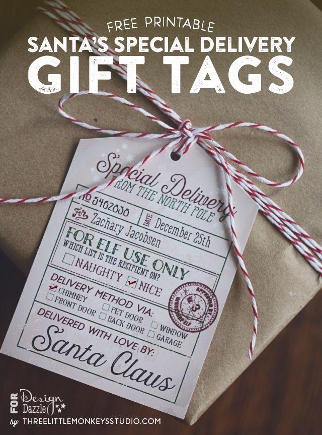 Free Santa's Special Delivery Gift Tags from ThreeLittleMonkeysStudio.com