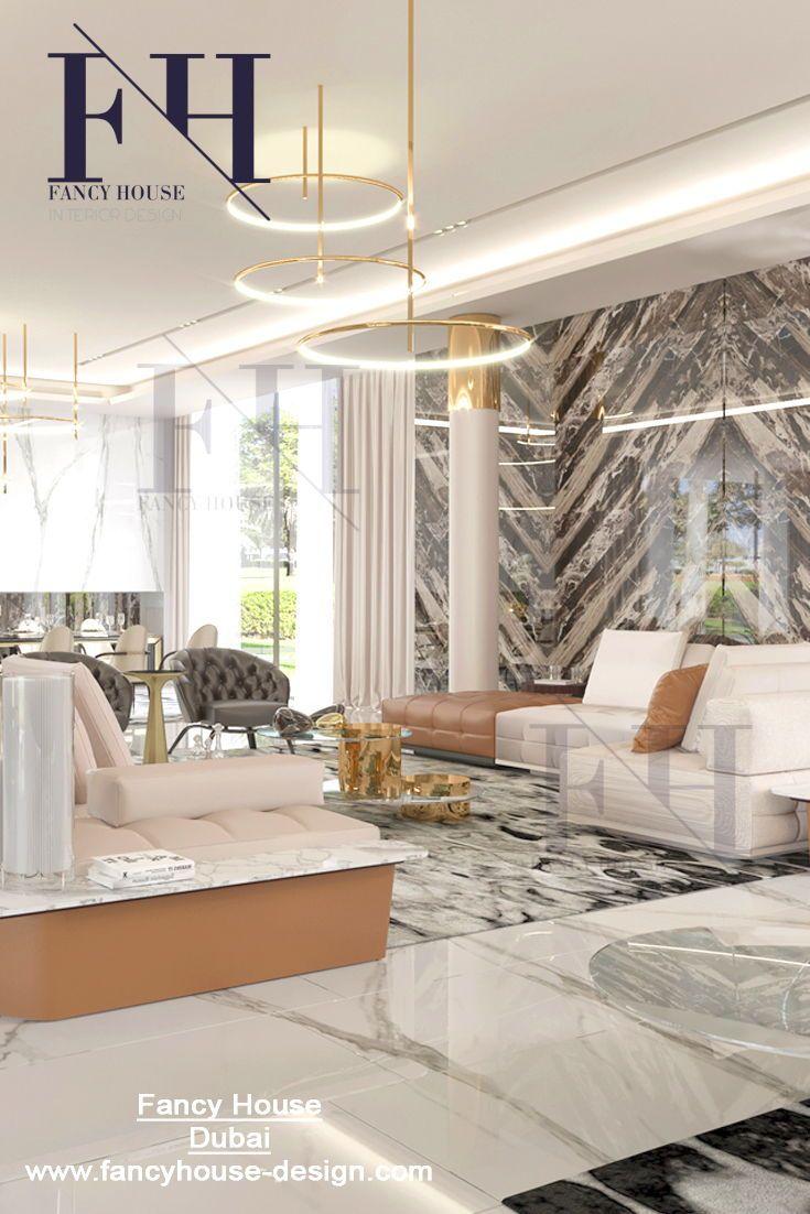 Modern Interior Decoration For A Mansion In White Gold Colors Get Inspiration Designdet Luxury House Interior Design Interior Design Dubai Interior Design