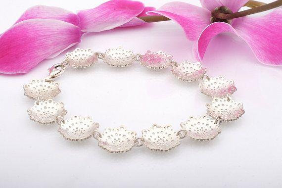 Doily Bracelet. Silver Doily Bridal Bracelet. Lace Bracelet.