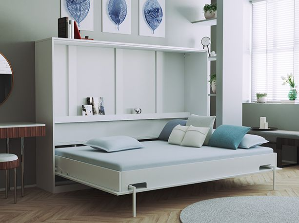 Smartbett Folding Wall Bed Basic 140x200 Horizontal White With Gas