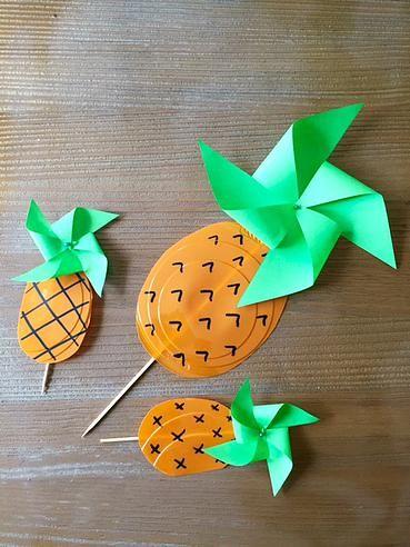bykinanoe | Projet DIY / L'ananas a le vent en poupe / upcycling / recyclage Moulins à vent réalisés à partir d'assiettes jetables en plastique