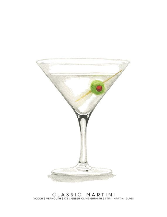 Classic Martini MidCentury Cocktail Illustration Print by cheryloz