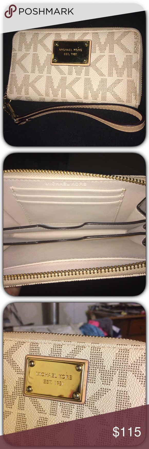 NWOT! Michael KORS Clutch w/ Cell Phone Case! NWOT! Authentic Michael KORS Wallet/ Clutch w/ Built In Cell Phone Carrier! Brand New & In Excellent Condition!!! See Picture Of The Flawless Gold Plate, Scratch/Smudge Free! Send email for lower offers! Michael Kors Bags Wallets