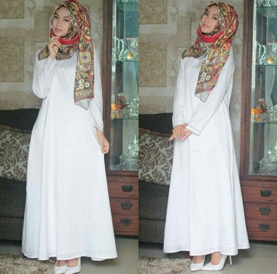 White dress and printed hijab