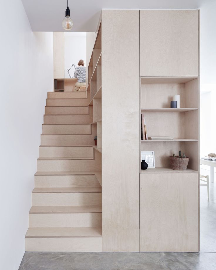 Larissa Johnston Architects Birch Plywood Stairs With Shelves, Rory Gardiner Photo