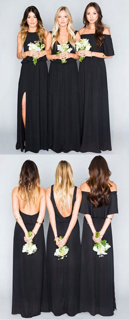 Black Chiffon Mismatched Eleagnt Long Wedding Bridesmaid Dresses, WG32 – LoverBridal