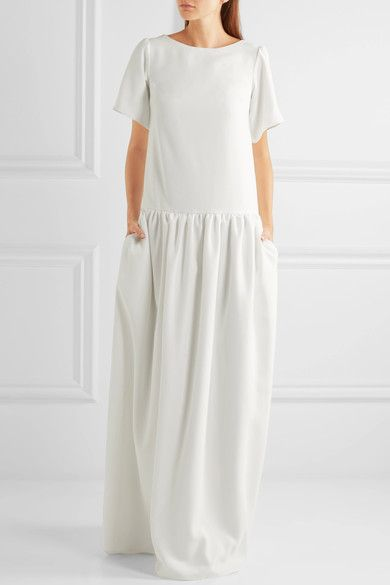 Cool White crepe de chine Slips on polyester Dry clean Made in the UK