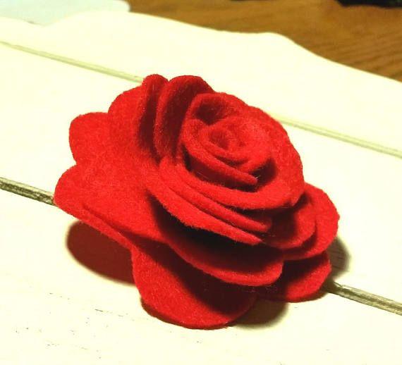 Red rose brooch  Felt rose  Felt flower  Handmade brooch